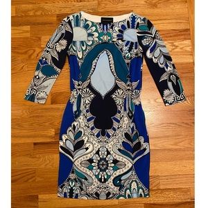 Blue Abstract Dress - Donna Morgan (Size 2)